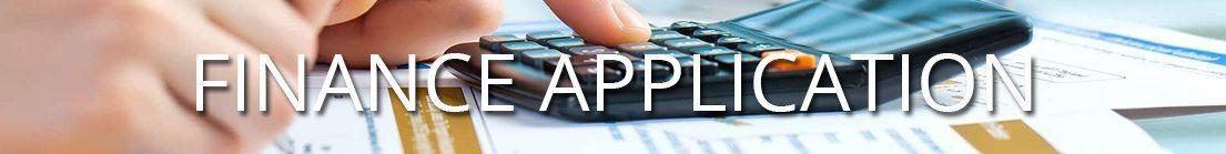 Hand with calculator. Text: Finance Application