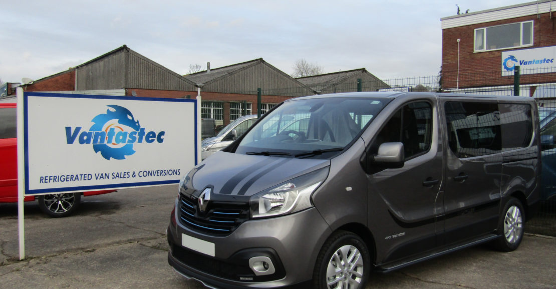 Oyster grey Renault Trafic sport+crew van as converted by Vantastec