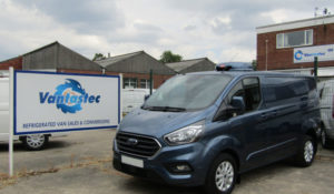 Blue Ford Transit Custom Fridge Van as converted by Vantastec