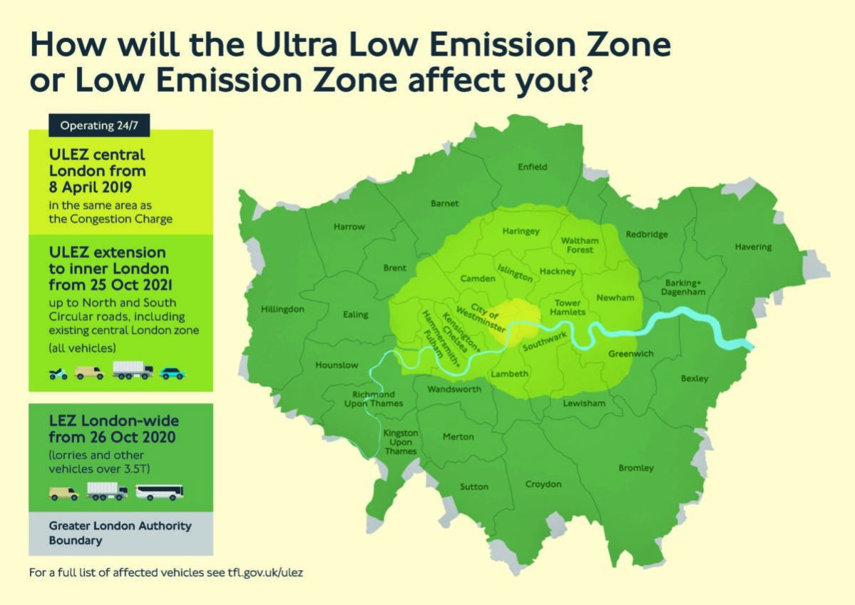 Map of the ULEZ boundaries and expansion area.