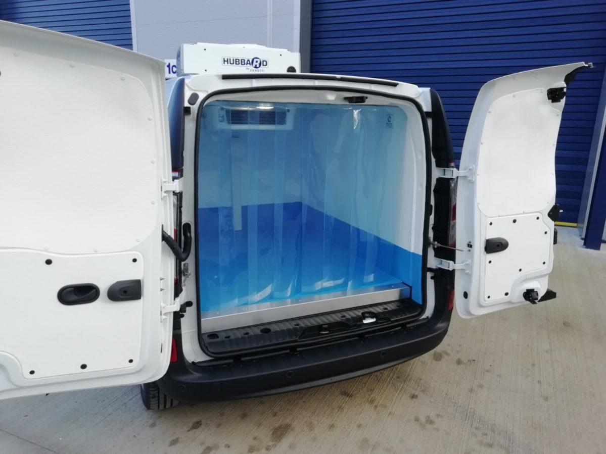 Renault Kangoo ZE refrigerated van. Rear with doors open