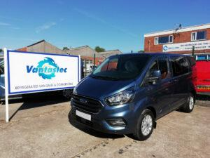 Blue Ford Transit Custom crew van from Vantastec