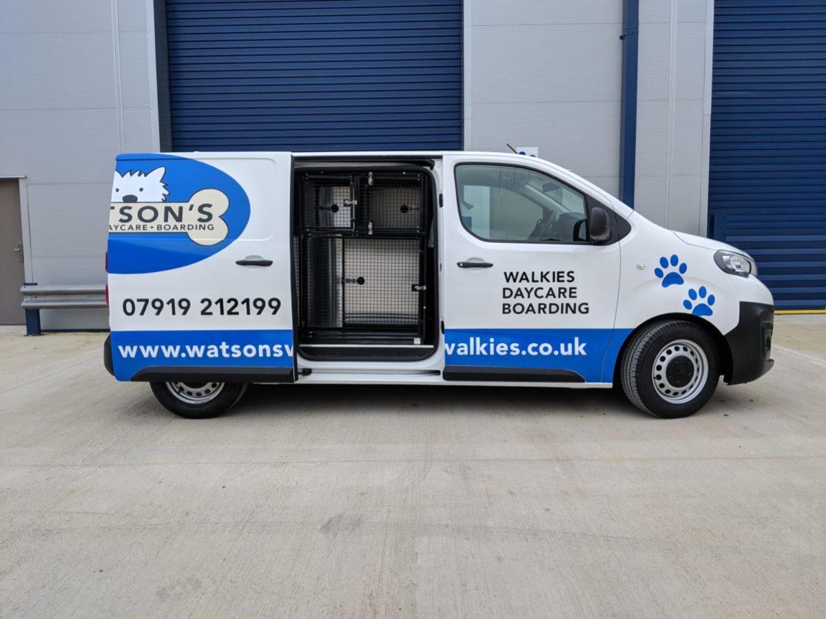 Side view of Watson Walkies dog van as converted by Vantastec
