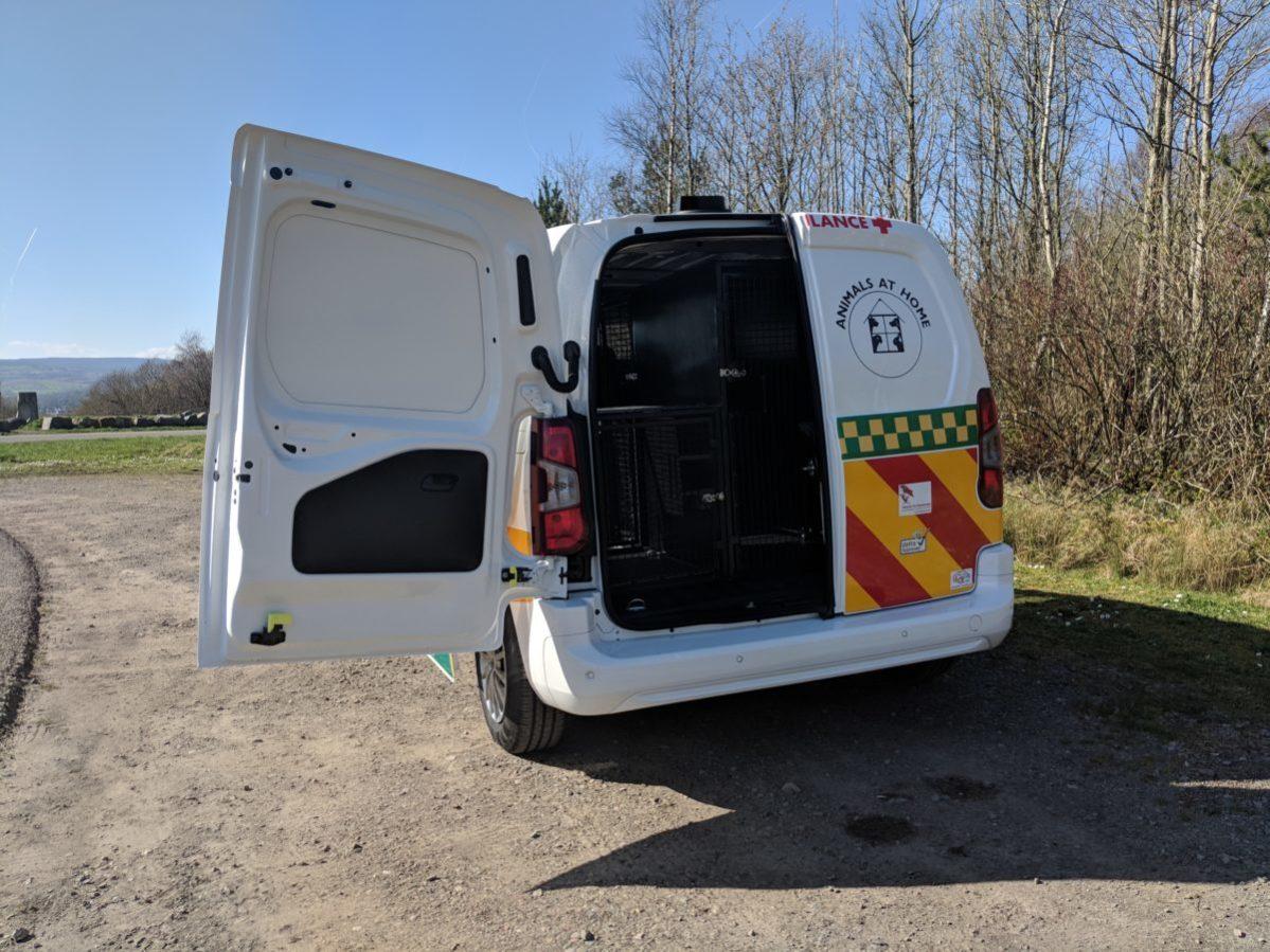 AAH Dog Van from rear view with doors open