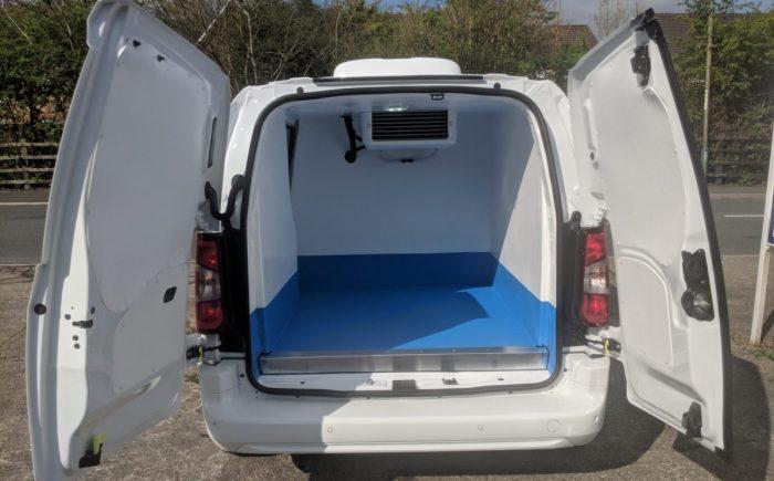 Peugeot Partner Fridge Van from rear with doors open