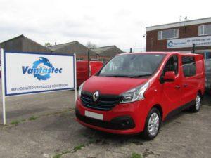 Red Renault Trafic crew van as converted by Vantastec