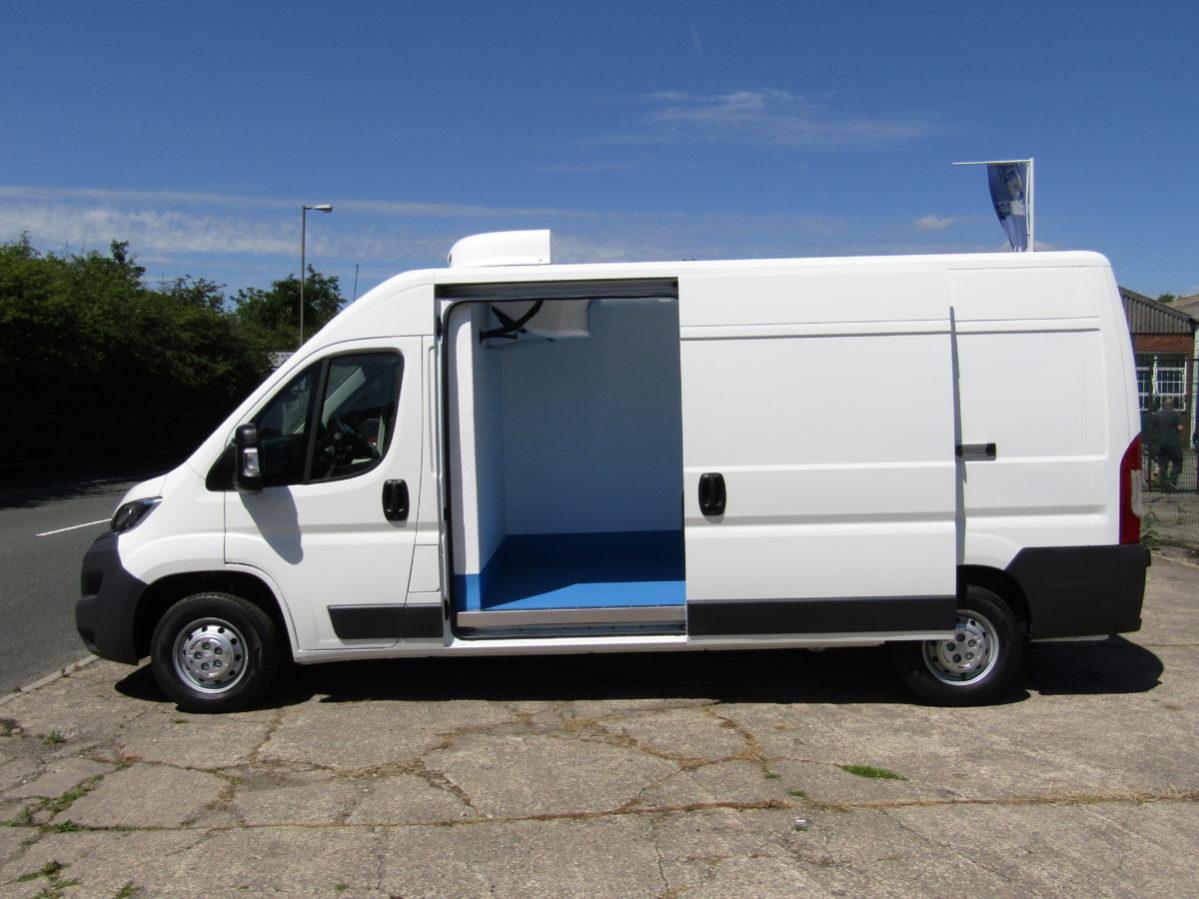 Side view of Citroen Relay fridge van with doors open