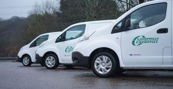 Caerphilly Council's new fleet of 100% electric oven vans, supplied by Vantastec Ltd