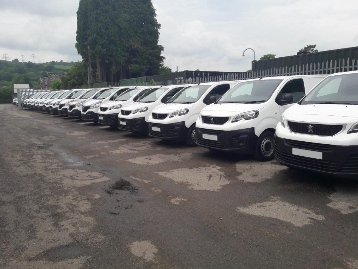 Line-up of vans